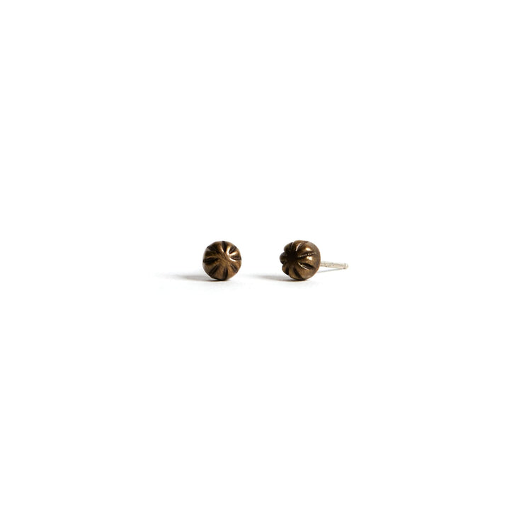 Carved Studs - Brass / Work Patina - Earrings