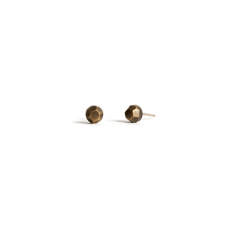Faceted Studs - Brass / Work Patina - Earrings