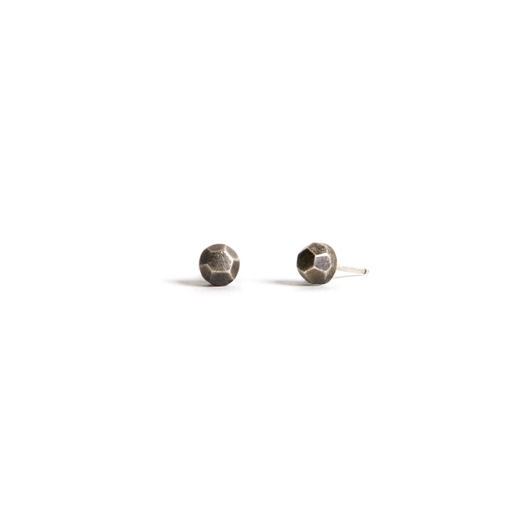 Faceted Studs - Sterling Silver / Work Patina - Earrings