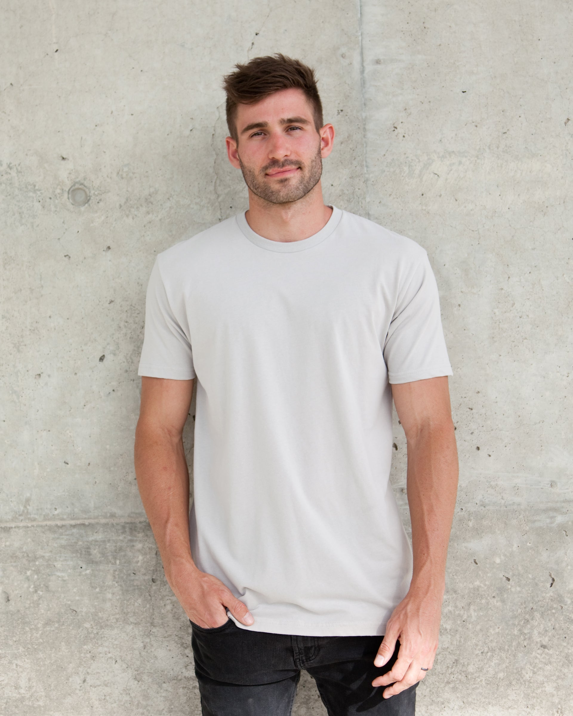 MAGO stone gray solid plain short sleeve tee