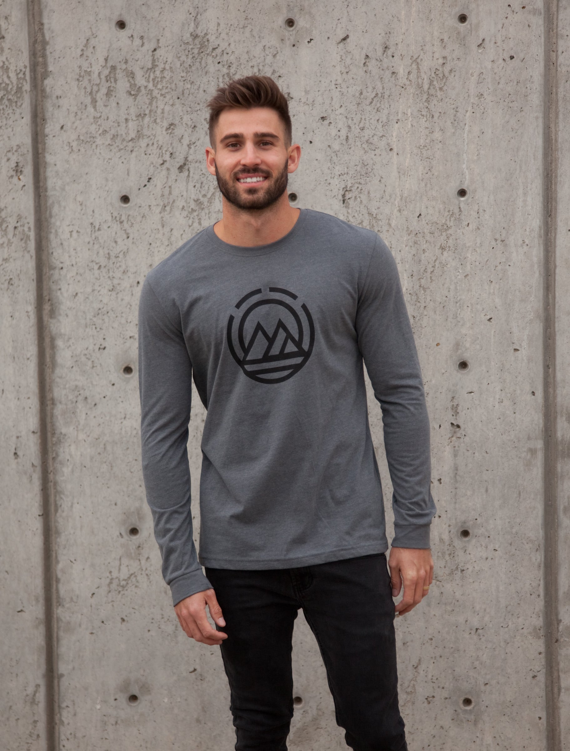 MAGO Logo Heather Grey Long Sleeve T-shirt