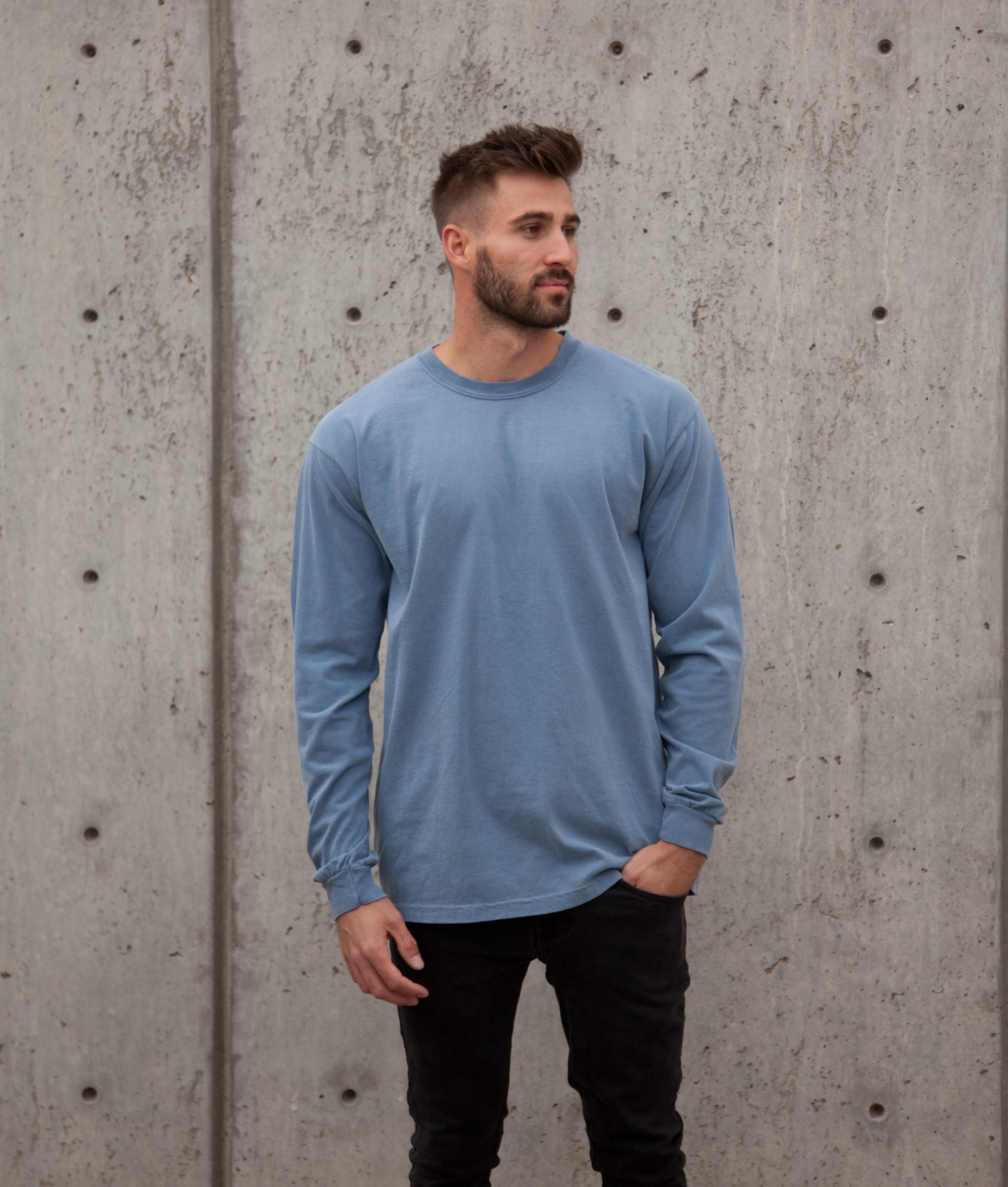 Sun-washed stormy blue long sleeve tee