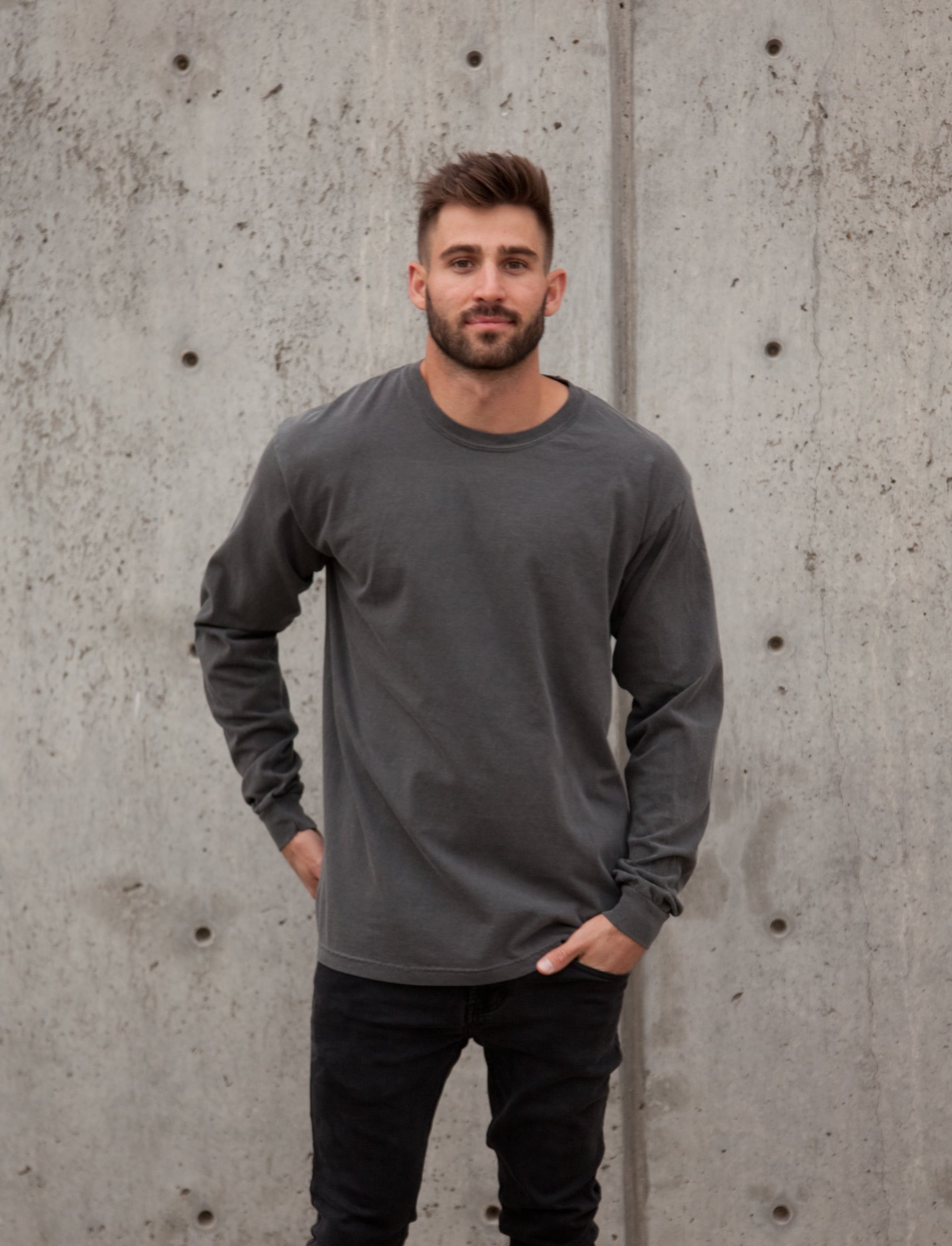 Sun-washed black pepper long sleeve tee