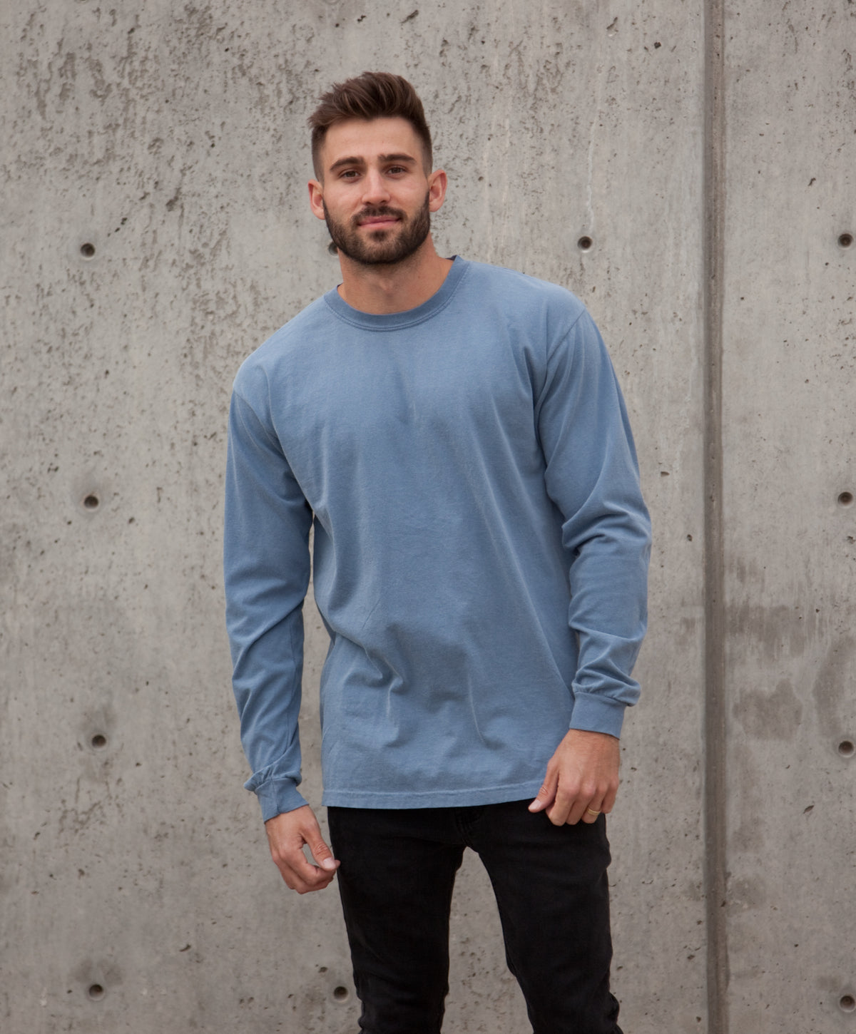 Comfort Colors Sun-washed stormy blue long sleeve tee