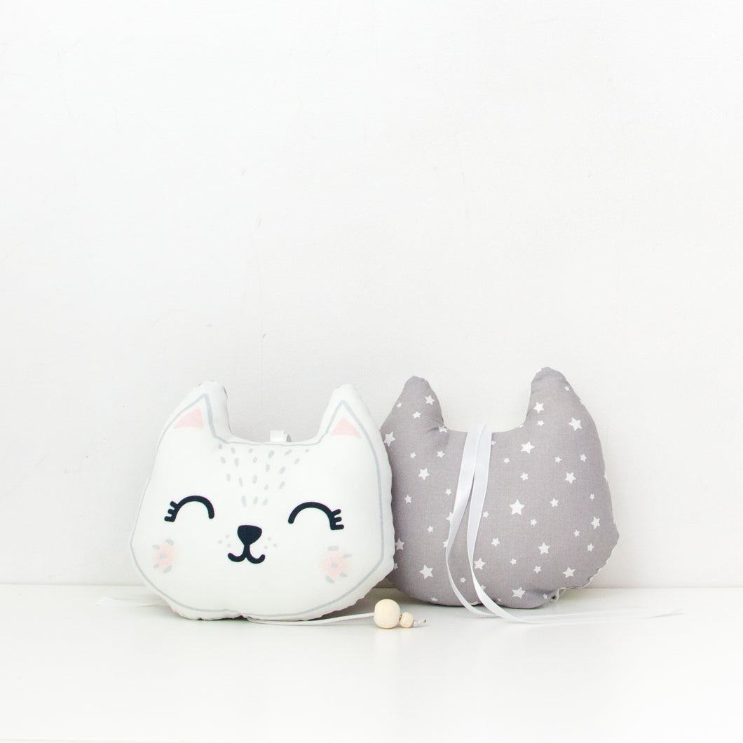 Coussin Musical - Chat Gris ou Rose
