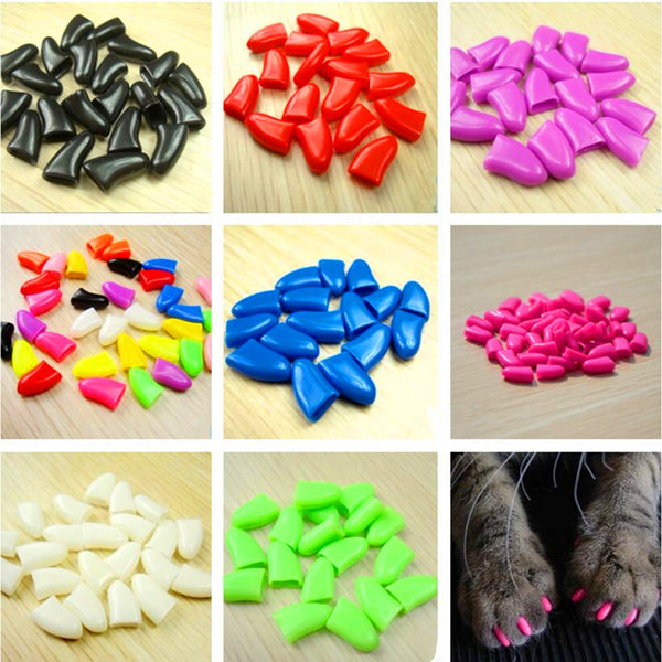 20pcs/bag Soft Cat Nail Caps / Cover with Adhesive Glue