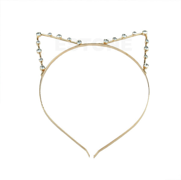 Women Fashion Girls Cat Ears Pearl Rhinestone Alloy Headband Hair Band Cute New