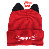 Winter Kitty Beanie Hat with Cat Ears
