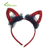 Wholesale Girl paillette grenadine Hair Accessories Baby cat ear hair band 2017 New Fashion kids Headwear 6pcs/lot Free shipping