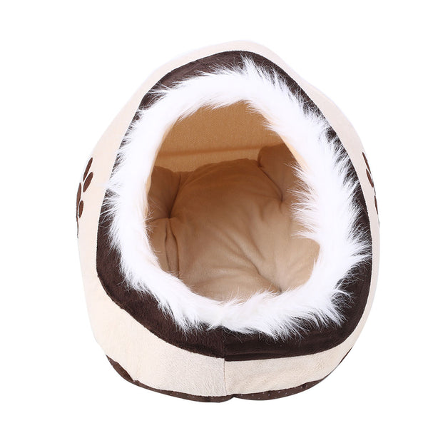 Plush Cotton Warm Dog House Shelter Paw Print Dog Bed