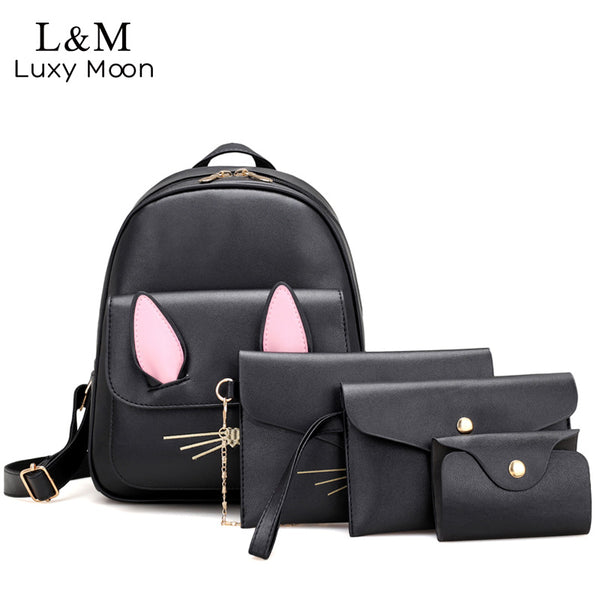 4Pcs/Set Small Women Cat Backpack Black Backpack / Shoulder Bag/  Purse