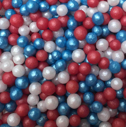 Glimmer Pearls - Red, White and Blue