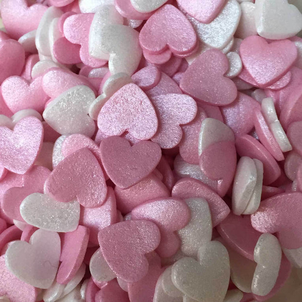 Glimmer Hearts - Pink and Mother of Pearl