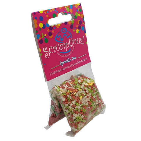 Sprinkle Duo - Red, Green and White Mini Stars and Glimmer Red, Green and White Trees