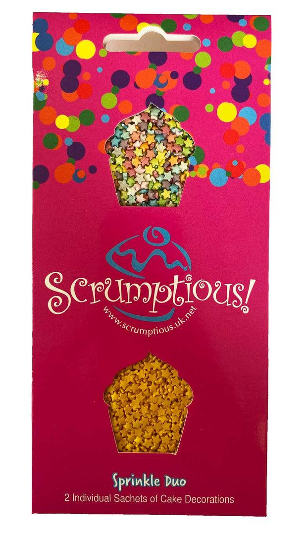 Scrumptious Sprinkle Duo Envelope - Mini Glimmer Stars - Mini Rainbow Stars and Mini Gold Stars