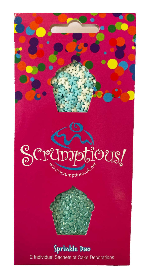 Scrumptious Sprinkle Duo Envelope - Ice and Snow - Mini Snowflakes and Turquoise Glimmer Sugar
