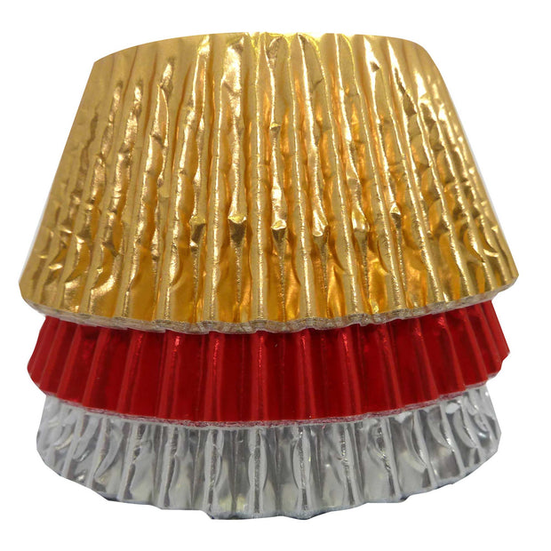Cupcake Cases - Mixed Foils - Red, Gold and Silver