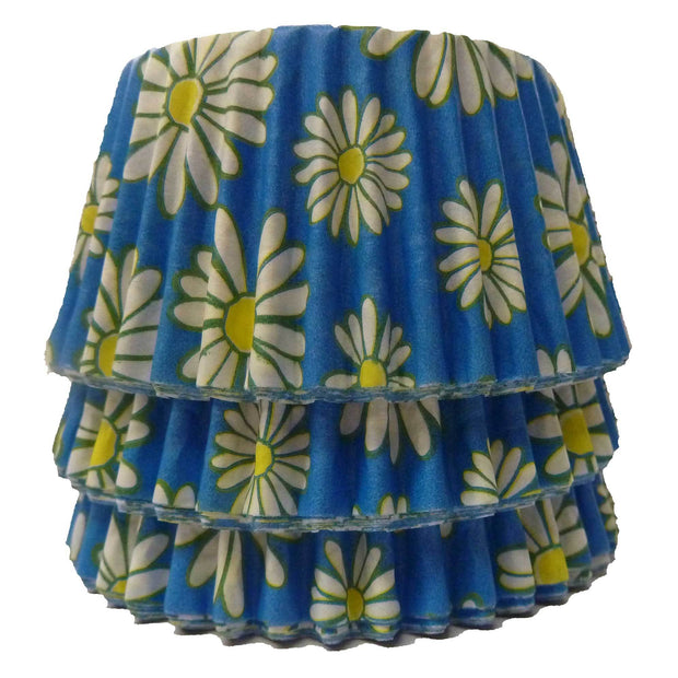 Cupcake Cases - Patterned - Blue Daisy