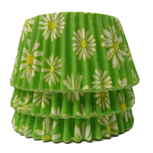 Cupcake Cases - Patterned - Green Daisy