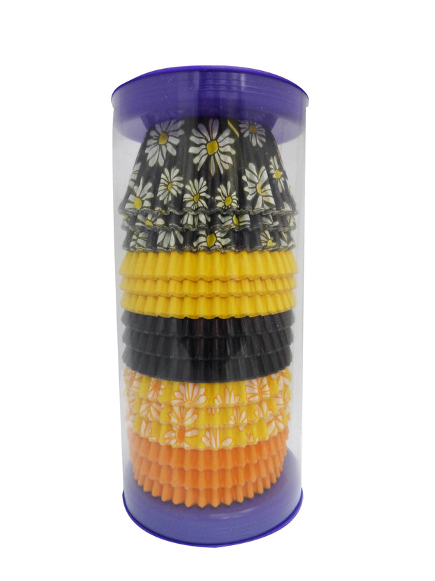 Cupcake Cases - Mixed - Black and Yellow Daisy