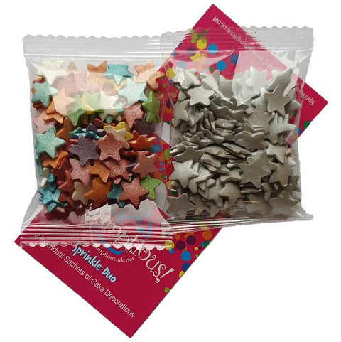 Sprinkle Duo - Jumbo Rainbow Stars and Jumbo Silver Stars