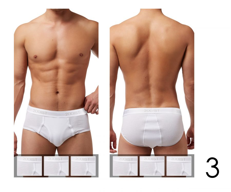 2(X)IST 3102003903 Cotton 3PK Fly-Front Briefs - Mpire Men