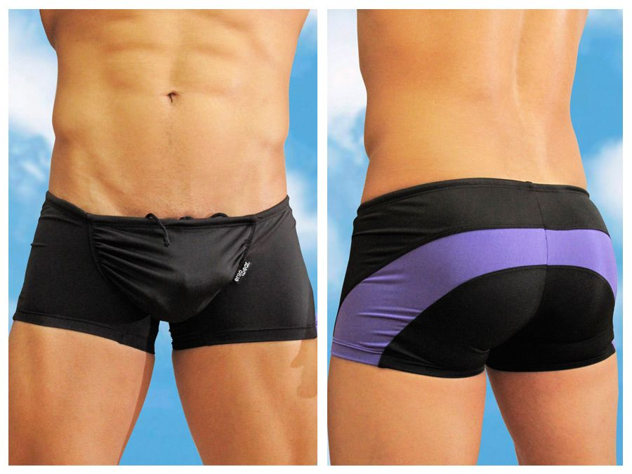 Swimwear Swim Trunks, ErgoWear, ErgoWear EW0322 Feel Swimsuit Trunk Black-Purple - Mpire Men's Fashion