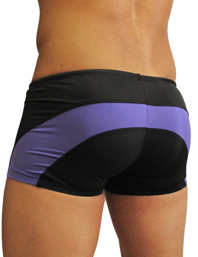 ErgoWear EW0322 Feel Swimsuit Trunk Black-Purple - Mpire Men
