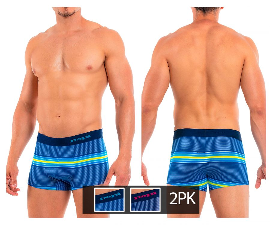 Papi 554565p-999 2PK Beachside Stripes Brazilian Trunks - Mpire Men