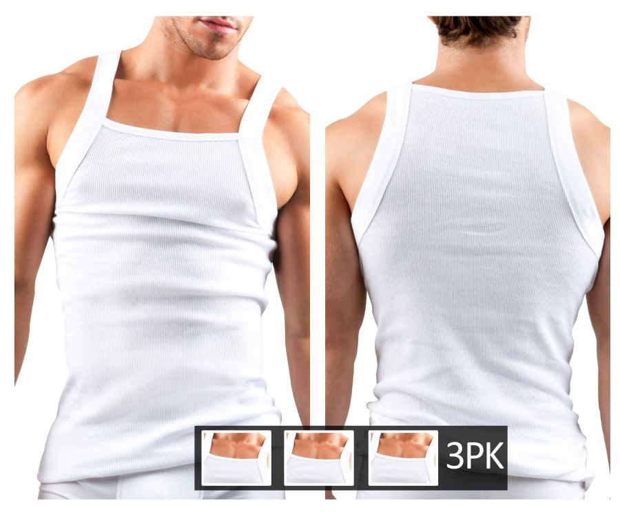 Papi 559102-100 3PK Square Neck Tank Top - Mpire Men