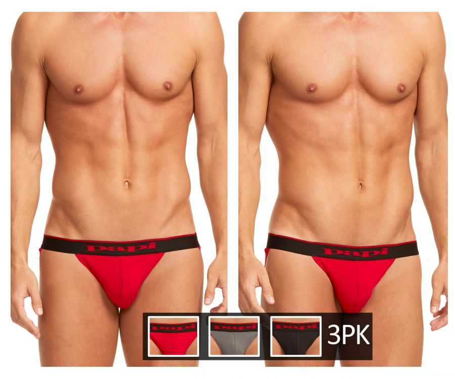 Papi 980911-950 980911-950 3PK Cotton Stretch Jockstrap - Mpire Men