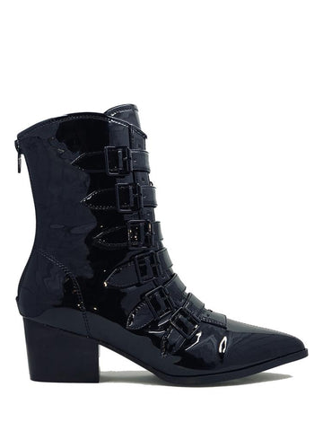 Strangecvlt Coven Boot Black Patent