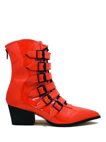 Strangecvlt Coven Boot Red Patent