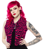 Sourpuss Essential Vest Zebra Hot Pink
