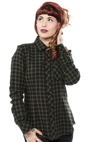 Sourpuss Maryann Flannel Top Olive