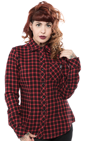 Sourpuss Maryann Flannel Top Red