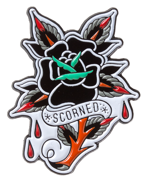 Sourpuss Scorned Rose Enamel Pin