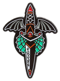 Sourpuss Winged Dagger Enamel Pin