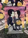 Haunted Graves First (Spooky) Kiss The Munsters / Addams Family Print A4