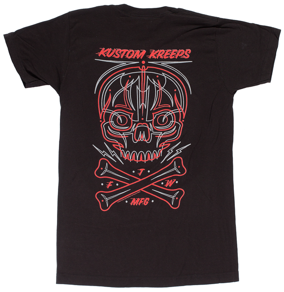 Kustom Kreeps Pinstriped Skull T Shirt