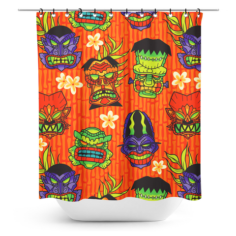 Sourpuss Monster Tiki Shower Curtain