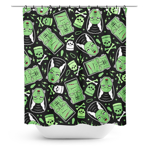 Sourpuss The Monsters Shower Curtain