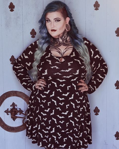 Sourpuss Luna Bats Keyhole Skater Dress