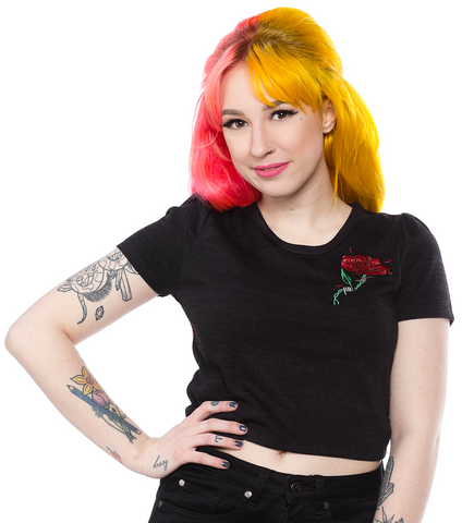 Sourpuss Barbed Wire Rose Crop Tee