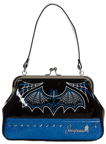 Sourpuss Batty Pinstripe Purse Blue