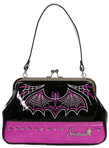 Sourpuss Batty Pinstripe Purse Pink