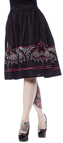 Sourpuss Batty Pintripe Skirt Black/Pink