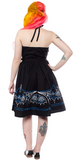 Sourpuss Batty Pinstripe Spookville Dress Blue