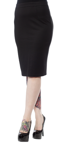 Sourpuss Knit Pencil Skirt Black