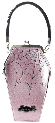 Sourpuss Coffin Sparkle Purse Pink